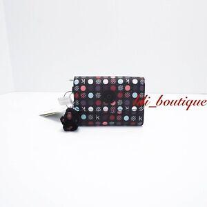 NWT Kipling AC3739 PIXI Snap Medium Trifold Wallet Polyester Black Multi Dots 47