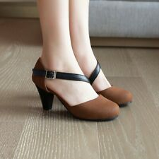 Ladies Buckle Strappy Round Toes Mid Block Heels Casual Plus Size Pumps Fashion