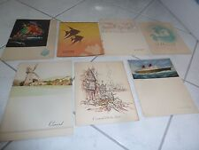 7 Cunard Queen Mary Ocean Liner Menus August 8 to 11, 1951 Lunch and Dinner