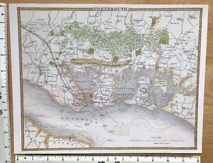 Old Antique Victorian colour map Portsmouth, England: c1830's: Moule: Reprint