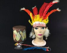 VINTAGE COWBOYS INDIANS CHILDREN'S PLAY DRESS UP HEADDRESS TOM TOM DRUM TOMAHAWK