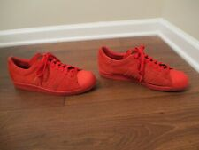 Used Worn Size 11 Adidas Superstar 80's City London Shoes Red With Gold