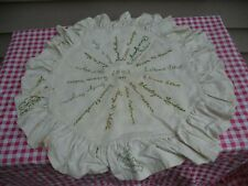 "Nice 1901-1903 22"" Round Muslin Fabric Sampler Pillow Case W/ 23 Stitched Names"