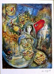 Marc CHAGALL Bella Facsimile Signed Litho Art Print 34 x 25