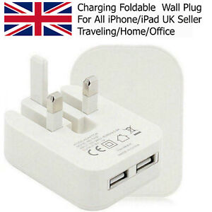 Fastest 2AMP Folding Wall Plug Charger Dual USB Port With Free Charging Cable UK