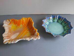 Shelley Harmony Dripware Bon Bon Dishes (x2), Art Deco style
