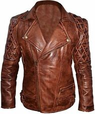 Diamond Quilted Classic Biker Distressed Brown Real Leather Jacket (All Sizes)