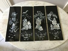 Vintage 4 PC. Set Vietnamese Black Lacquer Mother of Pearl Wood Plaque Wall Art