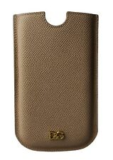 NEW $150 DOLCE & GABBANA Phone Case Cover Beige Gold Logo Leather SIII 14.5x8.5