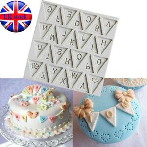 Letter Bunting Flag Silicone Fondant Mould Cake Sugarcraft Decorating Mold UK