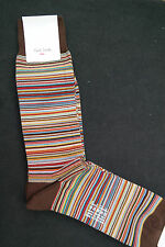 Paul Smith Mens Mid Length Socks Signature Stripes Brown F599A OneSize CottonMix