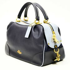 COACH Blue LANE COLORBLOCK Leather & Suede Satchel Bag Purse NEW NWT