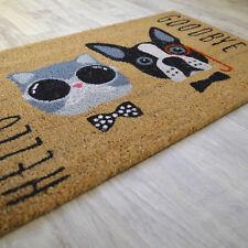 Paillasson Hello Chat et Chien - En fibre naturelle de coco. Format 45 x 75 cm
