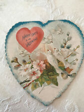 "Vintage Heart Shaped Die Cut White Doves ""Happy Days to my Valentine"" Card"