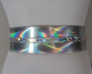 New Material Girl Iridescent Panel Stretch Belt Silver Club Fetish XS S M L