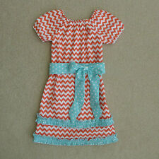 Lolly Wolly Doodle Boutique Chevron Print Short Sleeve Dress Size 7 Cute!!!