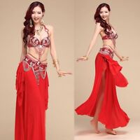 Professional Belly Dance Costume Beaded sets 2pcs set Bra Top+ Belt Size S M L
