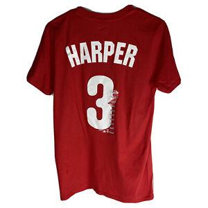 Philadelphia Phillies 3 Bryce Harper MLB Tee Shirt Mens Size Small Red