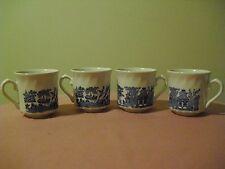 4 BLUE WILLOW Cups / Mugs - Made in ENGLAND - RAISED SWIRL RIBBING
