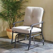 """All Weather Arm Gray Chair Glider steel frame 4""""-thick polyester filled cushions"""