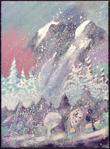 """Earl Biss """"Storm On Thunder Mountain"""" Serigraph on Paper Hand Signed 1996"""
