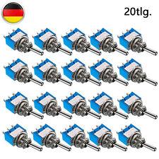 20x Miniatur Kippschalter 12V 24V 220V 230V Volt 6A Umschalter Ein / Aus / Ein