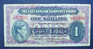 BRITISH EAST AFRICA ~ KING GEORGE VI ~ 1 SHILLING 1943 f.