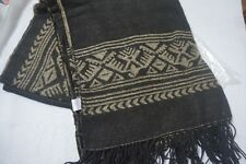 Women's Brown with Beige Geometric Print Wrap with Fringing Scarf Shawl One Size