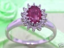 Rubin Ring 585 Weißgold 14Kt Gold natürlicher Rubin und Diamanten