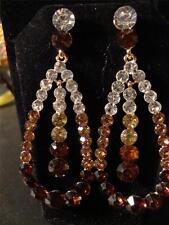 J124 White Brwn Champange Austrian Crystal Earrings in Goldtone