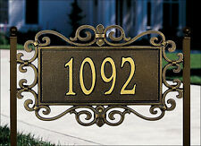Whitehall Mears Fretwork Address Plaque Wall OR Lawn Mount & 3 Color Choices