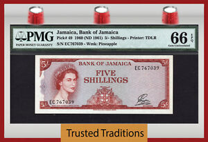 TT PK 49 1960 JAMAICA 5 SHILLINGS QUEEN ELIZABETH II PMG 66 EPQ GEM UNCIRCULATED