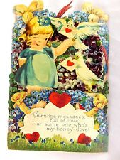 Lovely Girl Doves Love Letters Fold-out Valentine Card Stand-up Bavaria #A