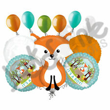 11 pc Woodland Fox It's a Baby Boy Animals Balloon Bouquet Party Decoration Blue