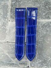 New 23mm Alligator Skin Deployment Strap Blue Watch Band SANTOS 100 CARTIER