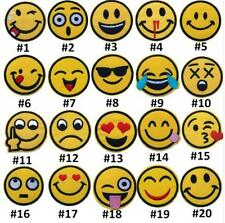 20 x EMOJI SMILEY FACES IRON ON EMBROIDERED PATCH APPLIQUE 5cm NOVELTY VEST