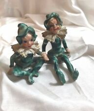Vintage Japan Sitting Green Elves Imps Pixies Porcelain Figurines Gold Trim (2)