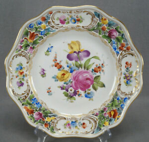 Carl Thieme Dresden Hand Painted Floral & Gold Reticulated 10 1/4 Dinner Plate H
