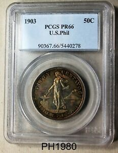PHILIPPINES 50 Centavos 1903 PROOF PCGS PR-66 FREE SHIPPING IN UNITED STATES