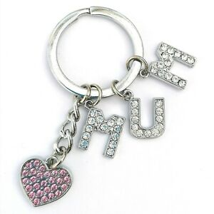 Personalised Crystal Letters & Pink Heart Key Ring Chain Gift