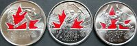 Canada 2009 2010 Olympic Moments All 3 Colourized Coins!!
