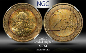 2014 R ITALY 2E GALILEO NGC MS64 450TH ANNIV. ONLY 2 GRADED HIGHER TONED