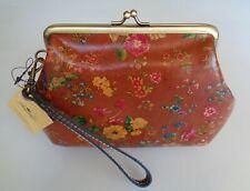 Patricia Nash SAVENA Kiss Lock Leather Wristlet Coin Wallet Floral Prairie Tan