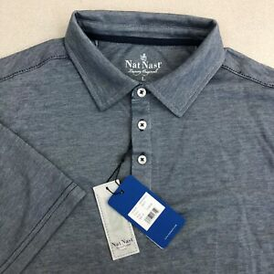 NWT Nat Nast Luxury Originals Polo Shirt Mens L Navy Blue Short Sleeve Casuals