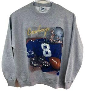 VINTAGE 90's NEW Lee Sport Dallas Cowboys Troy Aikman #8 Crew Sweatshirt Mens XL