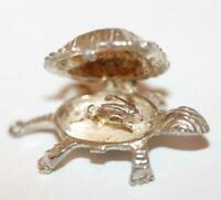 Rare Vintage Turtle Opening To Rabbit Hare Sterling Silver Bracelet Charm c.1970