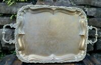 Antique ornate rectangle metal etched handled drink serving tray