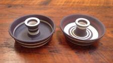 Pair of Handmade Studio Brown Purple White Stoneware Taper Candle Holder Dish