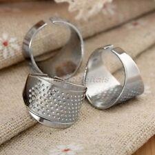 3pcs dedales de plata anillo ajustable dedal coser cuero artesanal accesorios