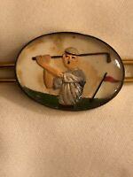 VTG Golf Tie Clasp Bar Reversed Painted 1930's Enamel Gold Tone UNIQUE